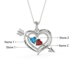 One Arrow Through Heart Birthstone Engraved Name Necklace Personalized