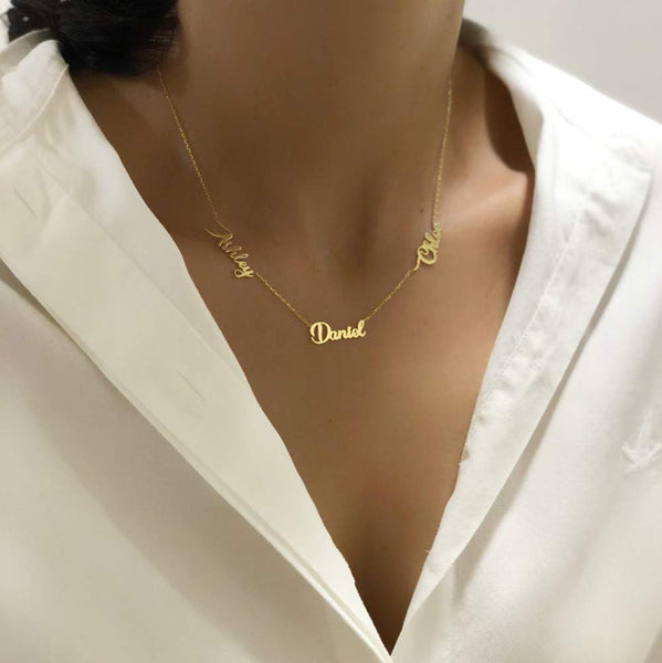 Three Names Necklace And Ring Personalized 18K Gold Plating