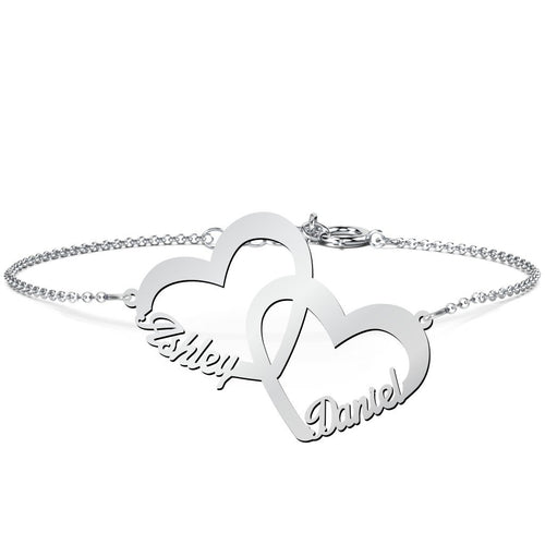 Two Love Heart Name Bracelet