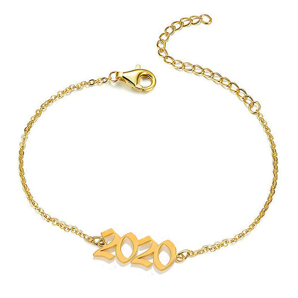 Gold Plated Personalized Birth Year Number Anklet