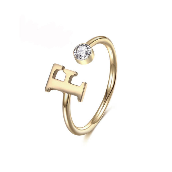 18K Gold Plated Gemstone Letter Ring - Silviax
