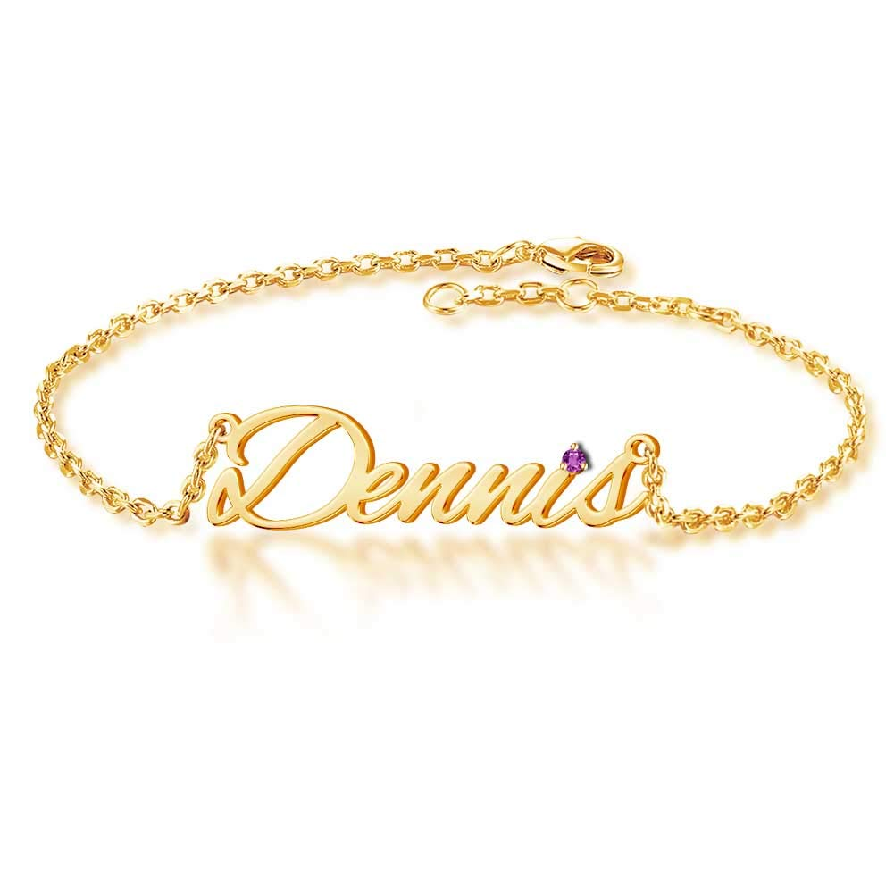 Personalized Birthday Gift Gold Plated Birthstone Name Bracelet