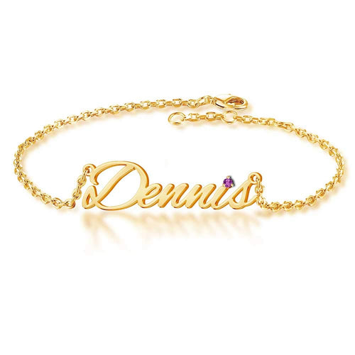 Personalized Birthday Gift 18K Gold Plated Birthstone Name Anklet