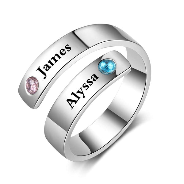 Silver Personalized 2 Birthstone  Name Rings