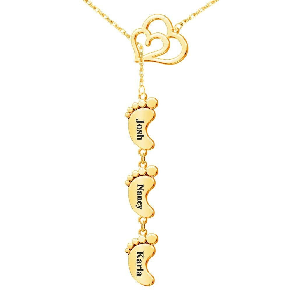 Gold Plated Personalized 3 Child Foot Engrave Name Necklace with Heart