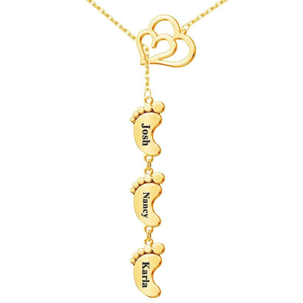 18K Gold Plated Personalized 3 Child Foot Engrave Name Necklace with Heart