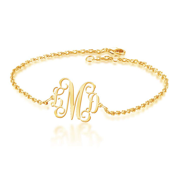 18k gold planting Monogram Bracelet Gift for Women