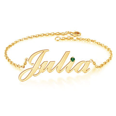 18K Gold Plated Personalized Birthstone Name Bracelet - Silviax
