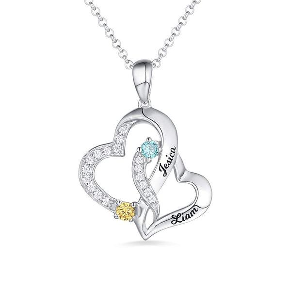 Personalized  Love Double Heart 2 Name Necklace with Birthstone
