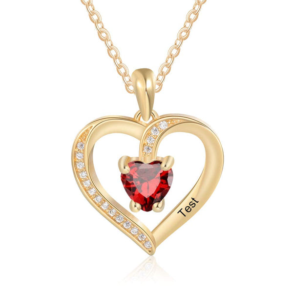 Love Heart Necklace with Birthstone Engraved Name  18K Gold Plated
