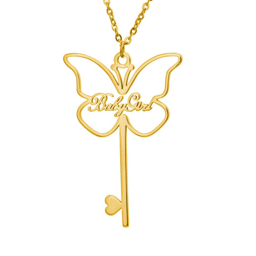 18K Gold Plated Personalized Butterfly Key Name Necklace - Silviax