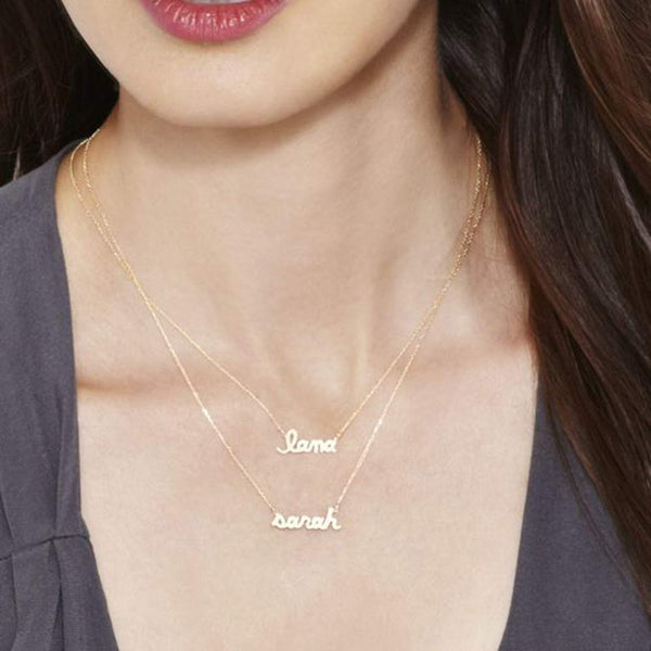 18K Gold Plated Personalized Two Names Layered Necklace - Silviax
