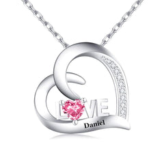 Engraved  Name Personalized Necklace Love Heart Birthstone