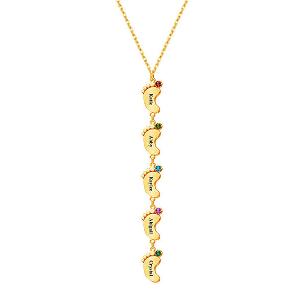 18K Gold Plated Personalized Vertical 3-5 Baby Foot Name Necklace with Birthstones