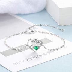 Personalized Custom Heart Birthstone Name Bracelet