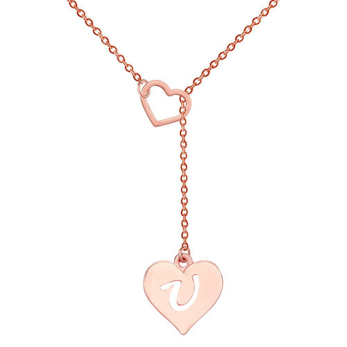 Heart  Initial Necklace Alphabet Letters for Women