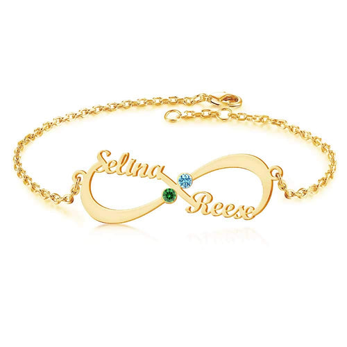 18K Gold Plated Personalized Two Names with Birthstone Infinity Bracelet - Silviax