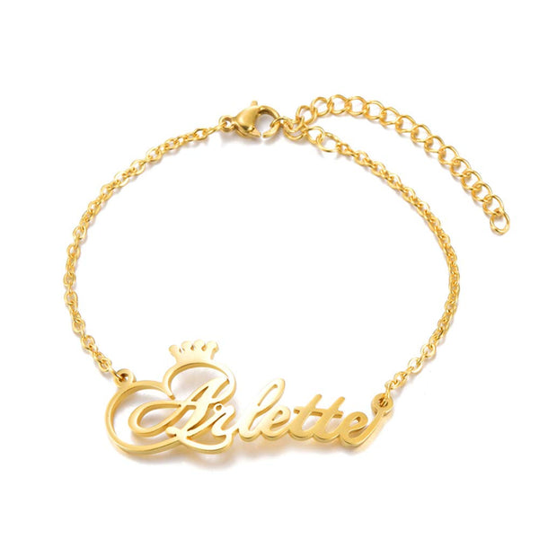Gold Plated Personalized Name Crown Bracelet