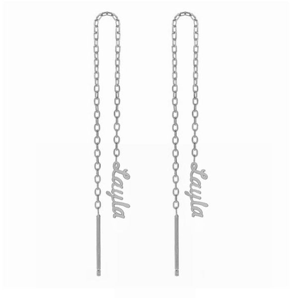 Silver Sterling Drop Personalized Name Earrings