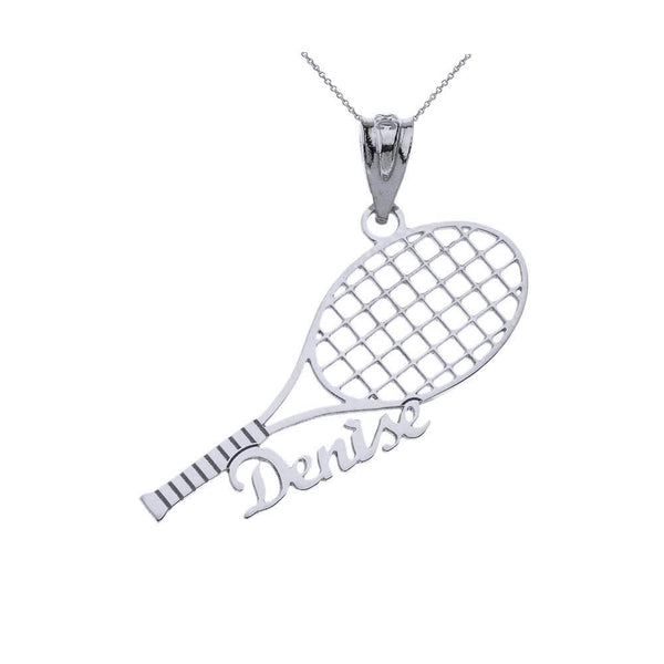 Sports Charm Certified White Gold Customized Tennis Racquet Pendant Name Necklace