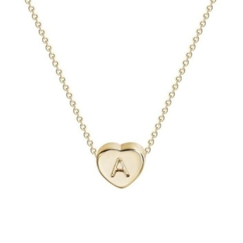 Gold Plated Letter Initial Heart Necklace