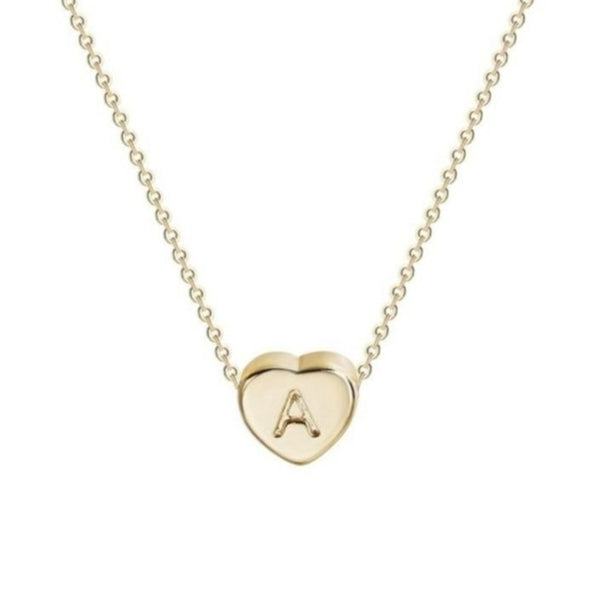 18k Gold Plated Letter Initial Heart Necklace