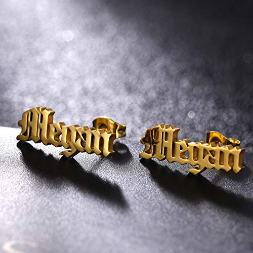 Old English Font Stud Gold Plated Personalized Name Earrings