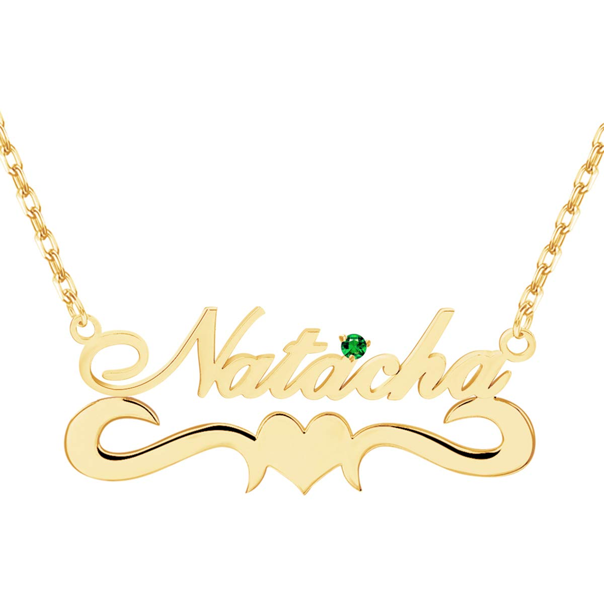 Personalized Name Necklace 18K Gold Plated Nameplate Jewelry Girls With Brithstone