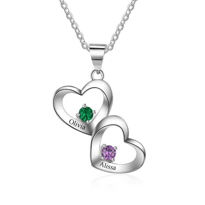 Two Heart Engraved Two Names With Birthstones Couple Heart Necklace