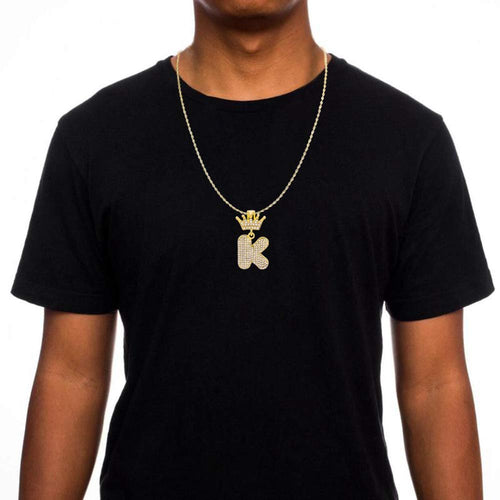 Crown Letter Pendant Hip Hop Style Custom Initial Necklace Gold Plated