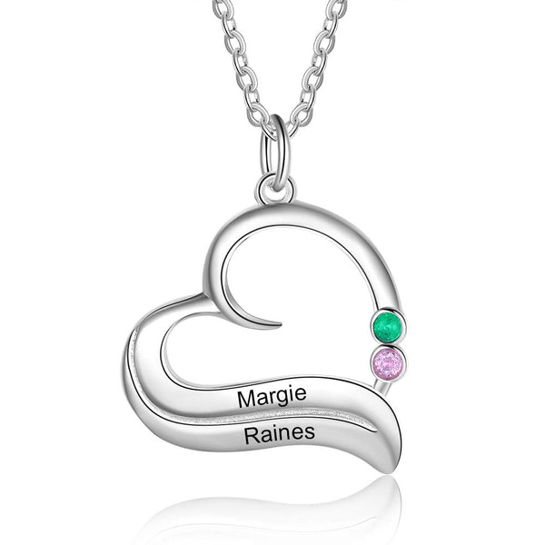 Engraved 2 Names Birthstones Personalized Heart Necklace