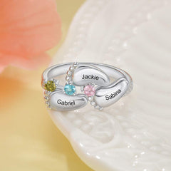Baby Feet with 3 Birthstone Personalized Name Ring
