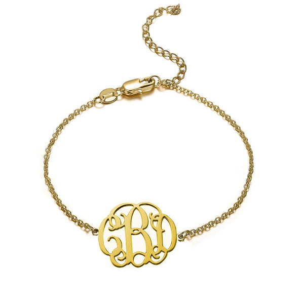 18K Gold Plated Name Initials Monogram Bracelet - Silviax