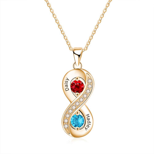 18K Gold Plated Personalized With Birthstones Couples Infinity Necklace - Silviax