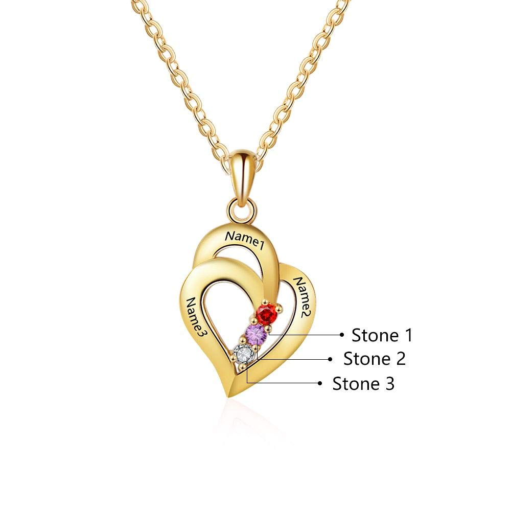 18K Gold Plated Personalized 3 Names With Birthstones  Mothers Heart Necklace - Silviax