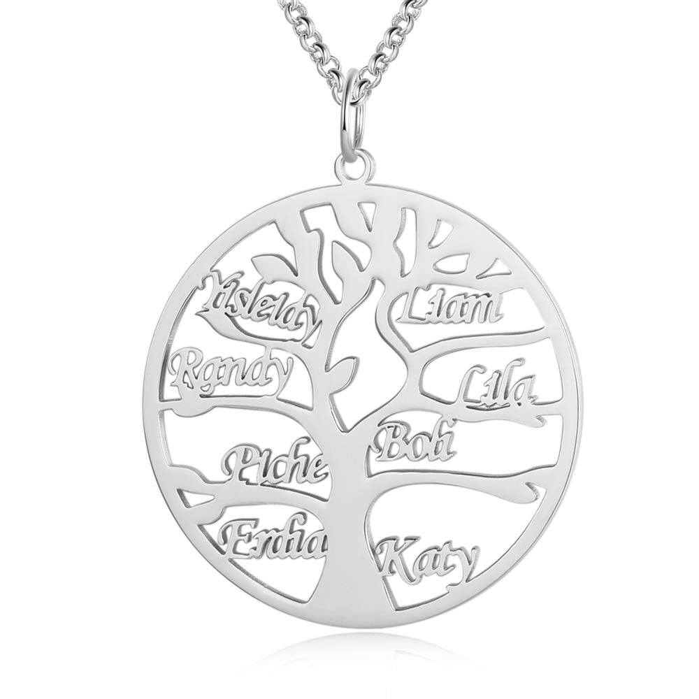 Tree of Life 1 to 8 Name Personalized Custom Family Necklace Jewelry Mother's Day Gift for Mom Women