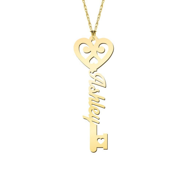 18K Gold Plated Key To True Love Personalized Name Necklace