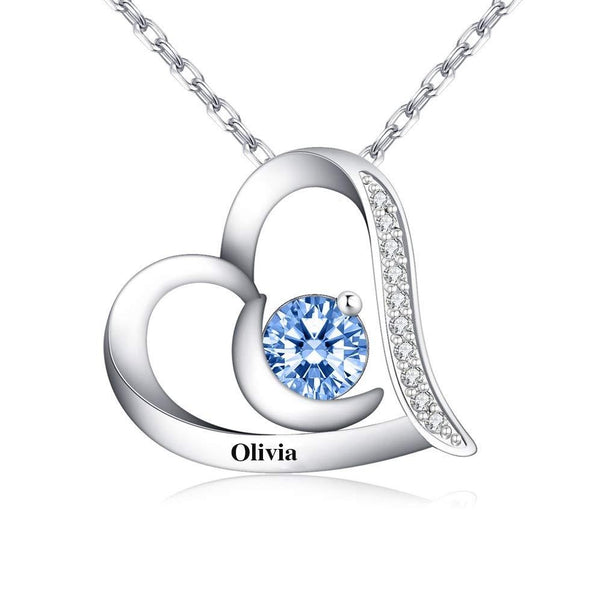 Personalized Heart Necklace with Birthstone Engraved Name