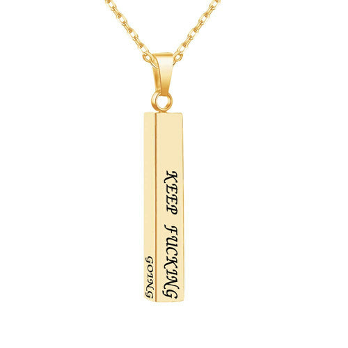 18K Gold Plated Personalized 3D Vertical Bar Necklace - Silviax