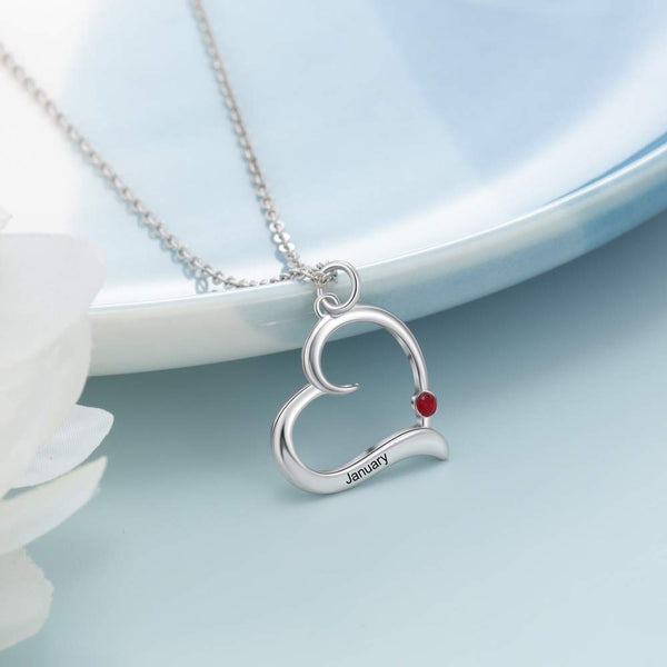 Engraved Name Birthstone Personalized Heart Necklace