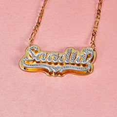 Double Layer Two Tone Heart Customized Name Necklace