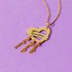 18K Gold  Mother's Necklace With 3 Name Personalized Family Necklace - Silviax