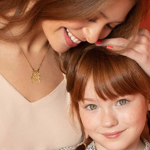 18K Gold Mother's Necklace with two Name Children Family Necklace - Silviax