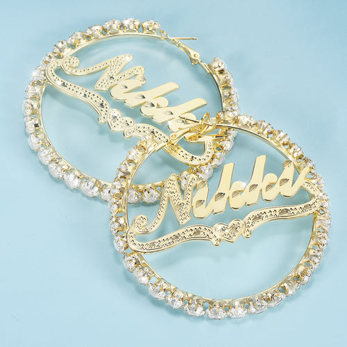 Gold Plated Personalized Hoop Name Earrings