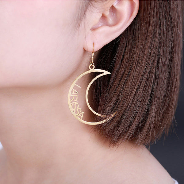 Gold Plated Personalized Moon & Sun Mismatched Name Earrings