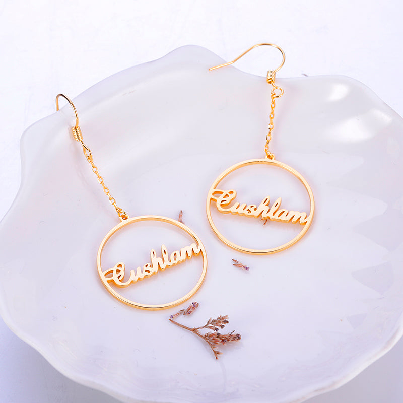 18K Gold Plated Personalized Drop Hoop Name Earrings