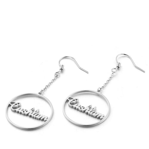 Gold Plated Personalized Drop Hoop Name Earrings