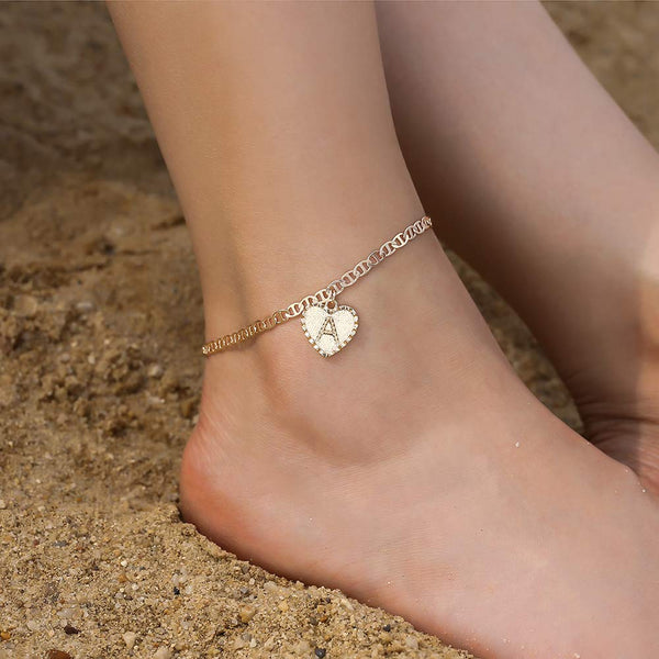 18K Gold Plated Heart Initial Letter Anklet