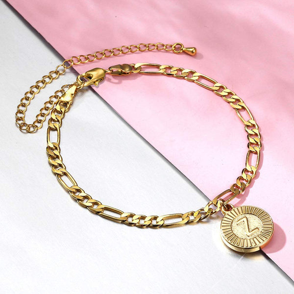 18k Gold Plated A-Z Round Letter Initial Charm Bracelet