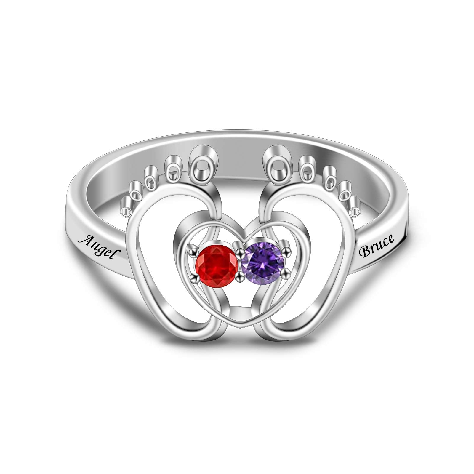 2 Birthstone 2 Names Baby Feet Heart Personalized Mother Ring